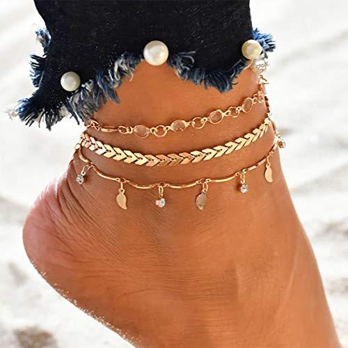 Bohend Boho Bracelet Or Cristal Feuille Réglable Glands Multicouches Cheville Bracelets Plage Chaînes de pieds Bijoux Accessoires Pour Femmes Et Filles