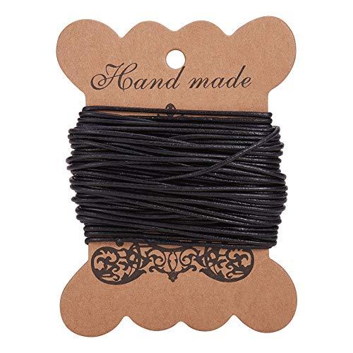 PandaHall 10m Cordino di Vacchetta, Cordino per Bracciale Corda Nera Cordino per Collana, Colore Nero, Circa 1.5mm in Diametro