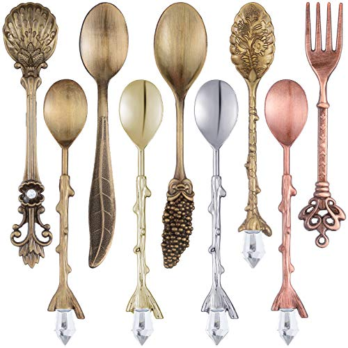 9 Pieces Retro Coffee Teaspoon Fork Mini Crystal Dessert Ice Cream Scoop Stereoscopic Alloy Coffee Spoon Vintage Royal Style Metal Carved Dessert Spoons for Kitchen Dining Bar (Multicolor)