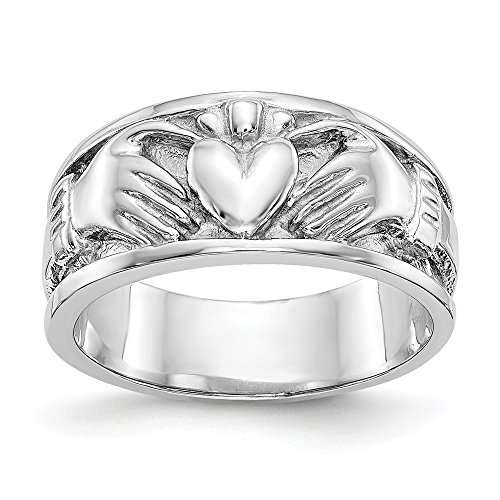 14k White Gold Irish Claddagh Celtic Knot Wedding Ring Band Size 6.00 Fine Jewellery For Women Gifts For Her