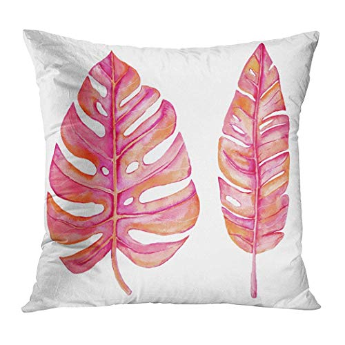Yaxinduobao Bed Pillows Loft Pillow 18 x 18 inches Watercolor Tropical Leaves Isolated On White Polyester Soft Square for Couch Sofa Bedroom