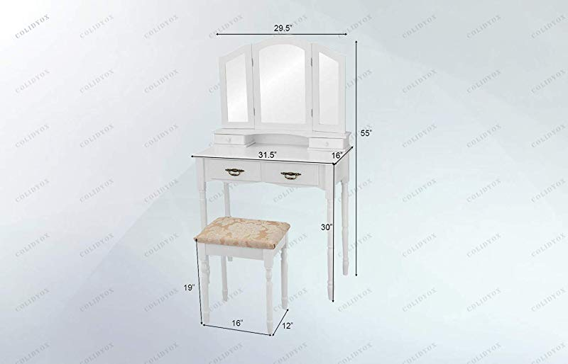 COLIBROX White Tri Folding Mirror Vanity Makeup Table Our White Vanity Makeup Table And Stool Set Which Has A Beautiful And Traditional Style Is A Perfect Choice For Any Bedroom