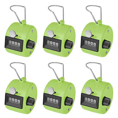 GOGO 6 PCS Plastic Hand Tally Counter 4 Digit Number Handheld Clicker Manual Mechanical Lap Counter for Sport Event Training