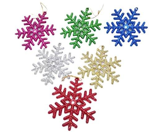 Lumanuby Lot de 6 flocons de neige colorés à suspendre pour sapin de Noël.
