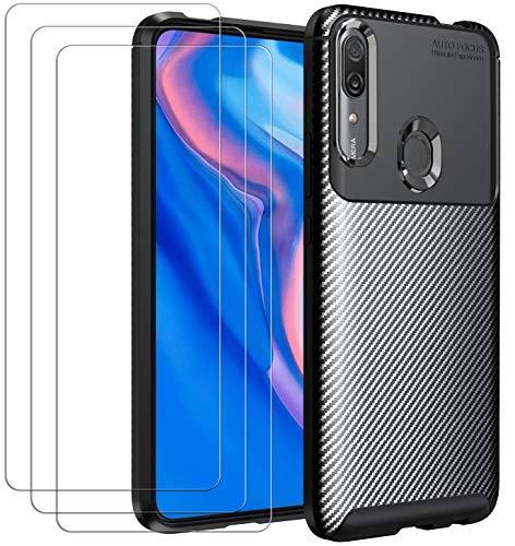 ivoler Funda para Huawei P Smart Z/Honor 9X, con 3 Unidades Cristal Templado, Fibra de Carbono Carcasa Protectora Antigolpes Negro, Suave TPU Silicona Caso Anti-Choques Case Cover