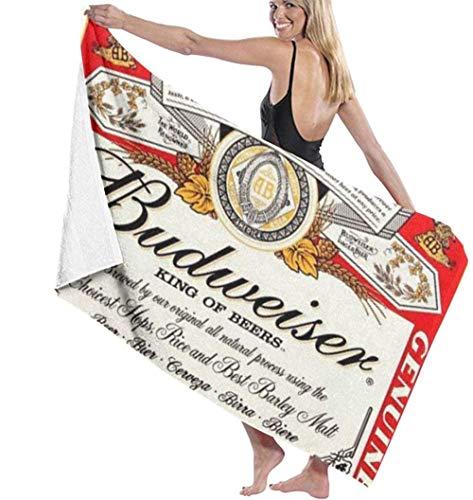 BAOYUAN0Toalla de Playa Budweiser con Logotipo de Cerveza, Toallas de baño absorbentes de Microfibra de algodón, Manta de Toalla de Secado rápido para Mujeres y niños H464