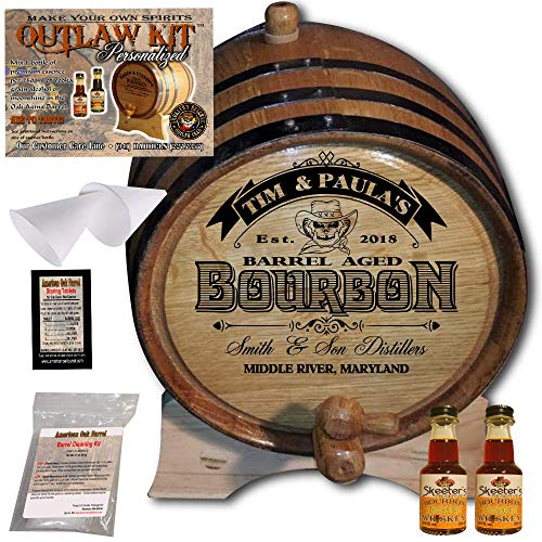 Personalized Whiskey Making Kit (102) - Create Your Own Honey Bourbon Whiskey - The Outlaw Kit from Skeeter's Reserve Outlaw Gear - MADE BY American Oak Barrel - (Oak, Black Hoops, 2 Liter)