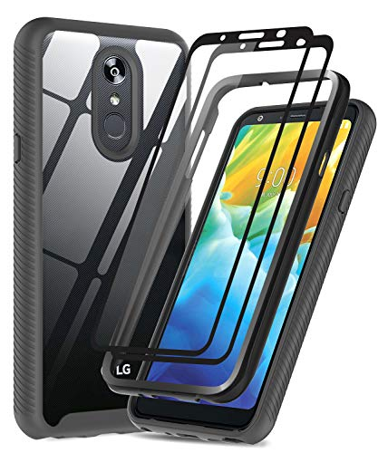 LG Stylo 4 Phone Case, LG Stylo 4 Plus/LG Q Stylus/LG Q Stylo+ Case with 2 Tempered Glass Screen Protector, LeYi Full-Body Rugged Hybrid Bumper Shockproof Clear Protective Cover for Stylo 4 Black