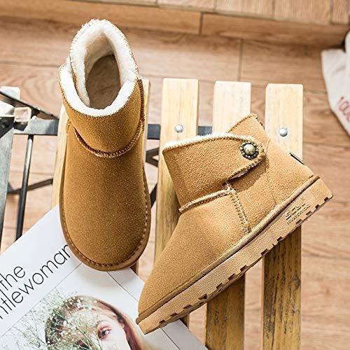 Shukun Bottes Bottes d'hiver de Neige Bottes féminines épaisses Bottes Plates d'étudiant Bottes en Coton