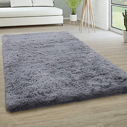 Paco Home Hochflor Teppich Wohnzimmer Fellteppich Kunstfell Shaggy Flauschig Einfarbig, Grösse:120x170 cm, Farbe:Grau