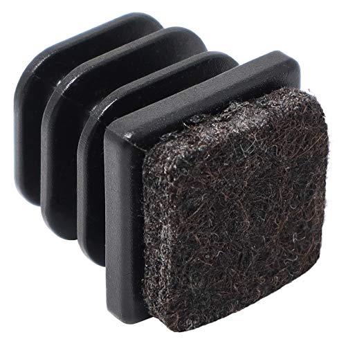 Adsamm® 4 x Lamellenstopfen mit Filz / 20x20 mm/Innen 16x16-18x18 mm/Schwarz/quadratisch/Kunststoff-Möbelgleiter mit Filz für Stahlrohrstühle