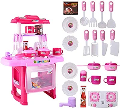 Shipping from USA Kids Play Kitchen Kids Play Kitchen with Toy Accessories Set, Best Chefs Kitchen Playset, Mini Kids Kitchen Pretend Play Cooking Set Cabinet Stove 3+ Year Old Girls Boys (A)