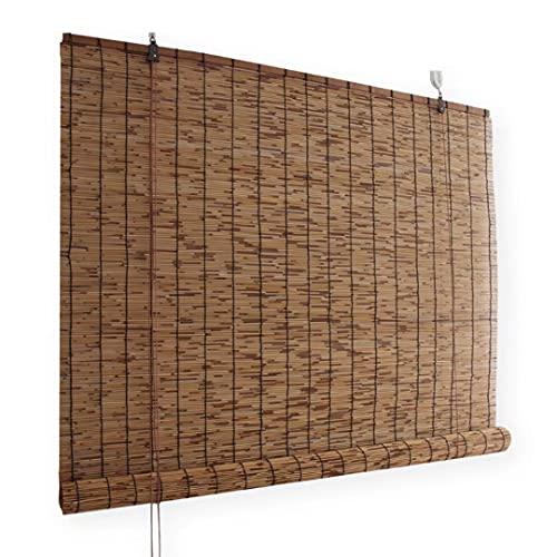 HAOQI Estores de Bambú Cortina de Madera Persiana Enrollable,150 x 175 cm (59 in x 69 in)