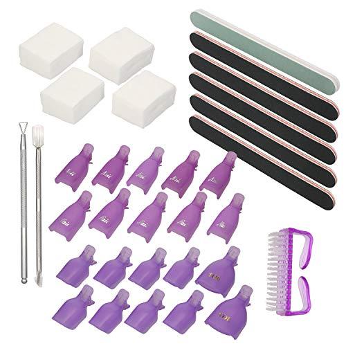 Adaskala 8PCs Nail Polish Gel Remover Tools Kit with Nail Clips Nail Dust Brush Cotton Pads Nail Pusher Cuticle Peeler Scraper Nail File Nail Buffer Separators