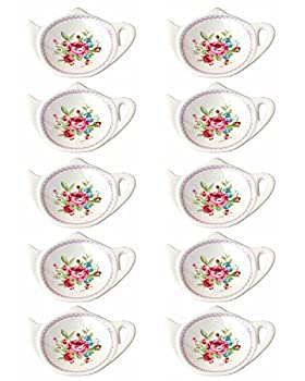 Linlins Set of White Porcelain Ceramic with Flower Trim Teapot-Shaped Tea Bag Holder Tea Bag Coasters Spoon Rests  Classic Tea Time Saucer Seasoning Dish Set  TYGZ