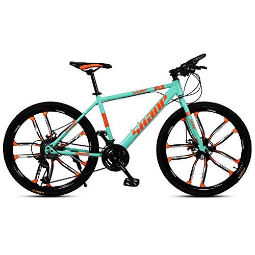 Faltbare MountainBike 24/27 / 30inch, Integrieren Zehn-Schneidrad Erwachsener Fahrrad Mountainbike, vorne und hinten Doppelscheibenbremsen, männlich und weiblich Variable Speed Fahrräder (Farbe: Rot