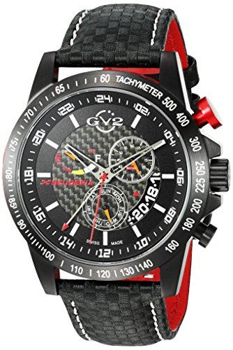 GV2 by Gevril Scuderia Mens Chronograph Swiss Quartz Alarm GMT Black Leather Strap Sports Racing Watch, (Model: 9900)