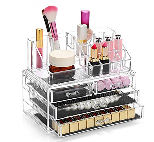 Display4top Schmuck Aufbewahrungsbox Acryl Cosmetics Lipsticks Make-up-Organizer Halter Box (4 Schubladen transparent)