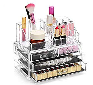 Display4top Caja acrílica Estante de maquillajes Maquillaje Cosméticos Joyería Organizador (4 Drawers Clear C)