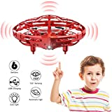 WEW Flying Toy Drones for Kids Gifts, Hand Operated Mini Drone Helicopter, Upgrade 6 Magical Sensors Levitation UFO Drone Gift Kids Toys for Boys and Girls - Red