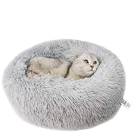 Queta Cama para Gatos Cama para Mascotas Encantadora, Cama para Perros pequeños Cama para Mascotas Felpa Suave Cama Redonda para Dormir para Gatos (50 cm de diámetro Gris Claro)