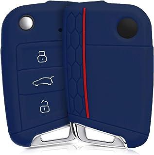 kwmobile Funda de Silicona Compatible con VW Golf 7 MK7 Llave de Coche de 3 Botones - Carcasa Suave de Silicona - Case Mando de Auto Azul Oscuro/Rojo