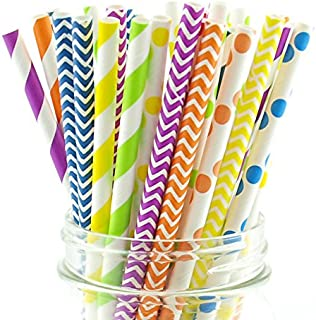 Rainbow Party Straws, Wedding Candy Buffet Straws, Fancy Drinking Straws, Kids Party Paper Straws, 75 Pack - Rainbow Color Multi Design Straws