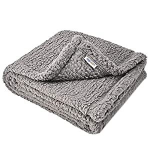 Juqiboom Premium Fluffy Fleece Dog Blanket, Soft and Warm Throw for Dogs & Cats, Pet Bed Cover, Mat Fluffy Blanket for Puppy Kitten Home Using, Camping Mat, Car Seat (Medium (3240″), Grey)