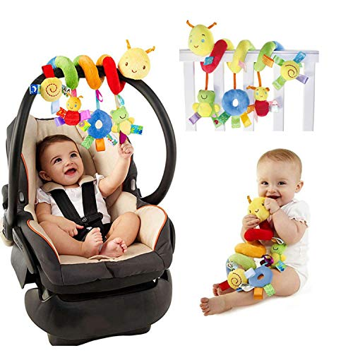 Stroller Accessoire Infant Baby Activity Spiral Bed & Stroller Toy Crib Hanging , Travel Activity Toy Baby Plush Ringing Bell Soft Cuddly Toy 28*25CM Snails Cot Accessory for Babies 0-3 Years Old