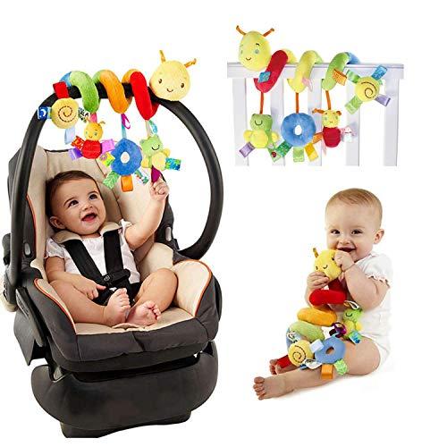 Jouet pour bébé à suspendre sur lit, poussette, activité de voyage, avec peluche et spirales, pour bébé de 0 à 3 ans, 28 x 25 cm