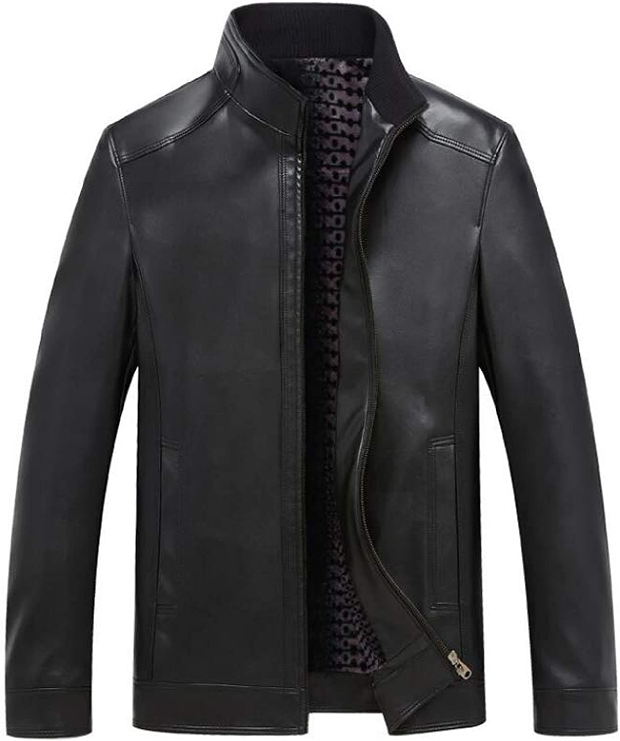 buy popular eee2f 78207 Autumn Autumn Autumn Winter New Men s Middle-Aged Jackets, Stand Collar PU  Leather Jacket Coat,Slim Fit Long Sleeve Zipper Outwear Coat Top (color  Black ...