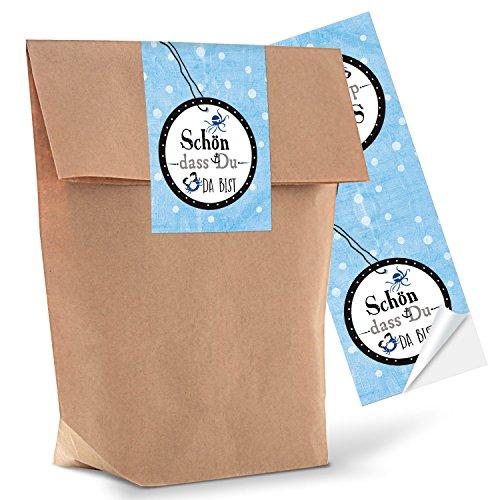 10 kleine braune Geschenktüten Papier-Tüten mit Aufkleber Sticker SCHÖN DASS DU DA BIST in blau mit Anker 14 x 22 x 5,6 cm maritime Verpackung Schiffsanker Hochzeit Symbol Geburtstag Kunden Beutel give-away