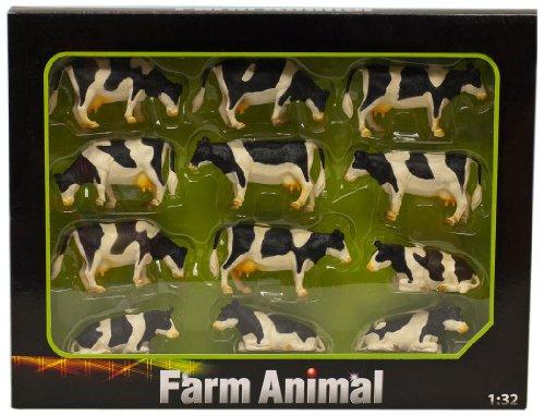 Kids Globe 571929 Kühe schwarz/weiß 1:32 Ÿ, 12 Stück, für Bauernhof, Tiere