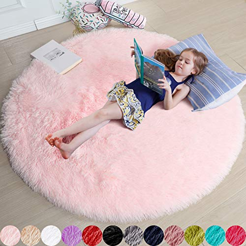 Pink Round Rug for Girls Bedroom,Fluffy Circle Rug 5'X5' for Kids Room,Furry Carpet for Teen Girls Room,Shaggy Circular Rug for Nursery Room,Fuzzy Plush Rug for Dorm,Cute Room Decor for Baby