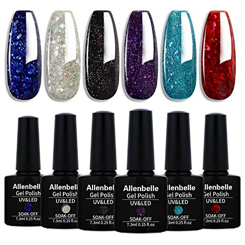Allenbelle Smalto Semipermante Per Unghie Kit In Gel Uv Led Smalti Semipermanenti Per Unghie Nail Polish UV LED Gel Unghie(Kit di 6 pcs 7.3ML/pc) (022)