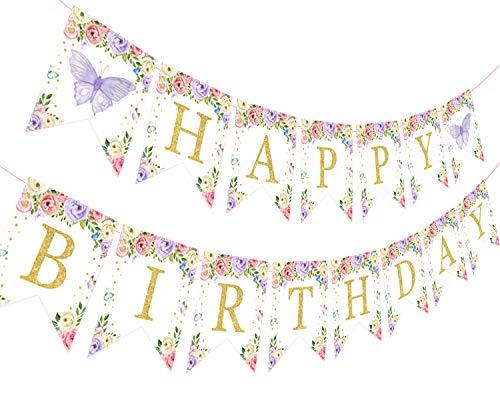 Bandera de cumpleaños con mariposa, diseño floral, 1º 2º 3º cumpleaños, decoración rosa y morado para niñas y mujeres, suministros para fiestas de cumpleaños