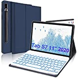 IVEOPPE Funda con Teclado Español Ñ para Samsung Galaxy Tab S7 11'' 2020 SM-T870/T875/T878, Teclado Extraíble con Retroiluminación Bluetooth para Samsung Galaxy Tab S7 de 11 Pulgadas, Azul Marino