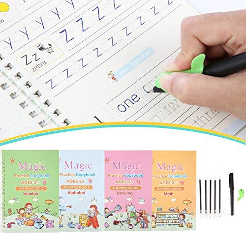Gigilli Magic Practice Copybook For Kids, Reusable Magic Calligraphy Tracing Handwriting Copybook Set, English Version Writing Practice Book for Children (4 Books 1 Pen)