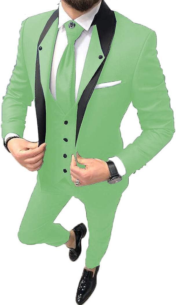 ToonySume Fashion Men's Business Suits Slim Fit 3 Pieces Prom Tuxedos Notch Lapel Groomsmen Wedding(Custom,Mint Green)