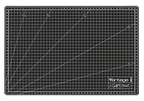 Vantage Schneidematte A3 (30 x 45 cm, selbstheilend, beidseitig nutzbar, mit Raster) schwarz