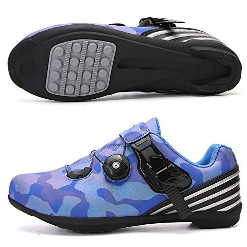 CHANGAN Zapatillas de Ciclismo para Carretera Plus, con Suela de y Sistema rotativo de precisión Suela Dura para Zapatos de Montar sin Bloqueo Camouflage blue-40