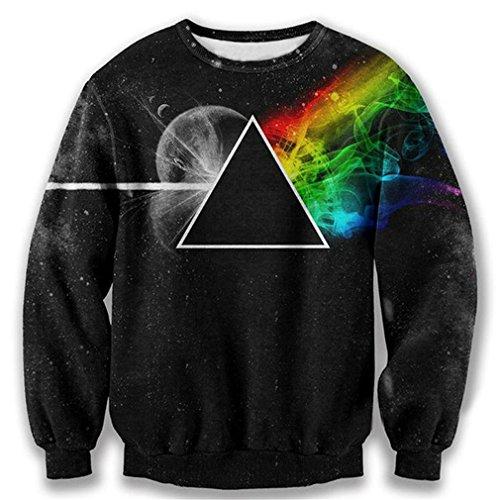 Ldayly Felpa 3D Felpa con Cappuccio Felpa 3D Lato Scuro della Luna Triangolo Galaxy Pullover Tops Abbigliamento da Uomo Pink Floyd Tops M