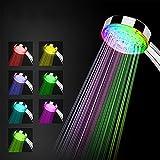 Alcachofa Ducha LED, Cabeza Ducha Alta Presion de Mano, Cabeza de Ducha con Luz LED Automáticamente, No Necesita Pilas 7 Colores