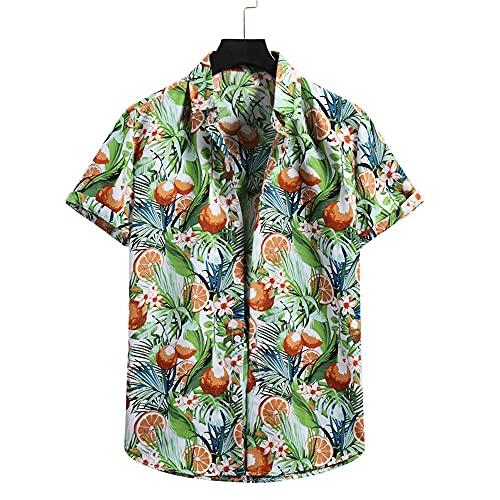 Shirt Hombre Verano Suelta Hombre Hawaiana Camisa Único Estampado Manga Corta Deportiva Camisa Botón Placket Playa Shirt Básica Correr Shirt Ocio Vacaciones Surf T-Shirt F-04 XXL