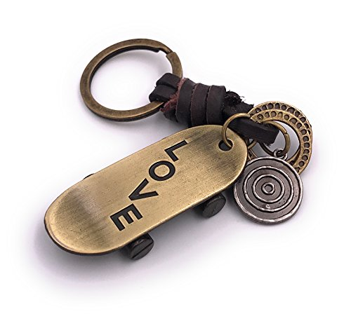 H-Customs Skateboard Love Schlüsselanhänger besonderer Anhänger aus Metall Bronze