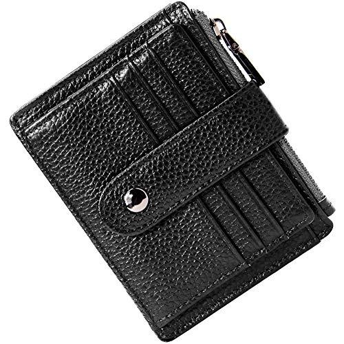 Portafoglio da uomo,donna in pelle ultra sottile portafoglio portamonete,porta carte di credito, con cerniera, portamonete da donna portafogli da donna (nero)