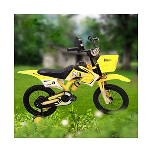 Children's Bicycles with Auxiliary Wheels, Motorcycles, Boys' Bicycles, Children's Mountain Bikes, Children's Motorcycles (Various Sizes are Available) (Color : Yellow, Size : 24 in)