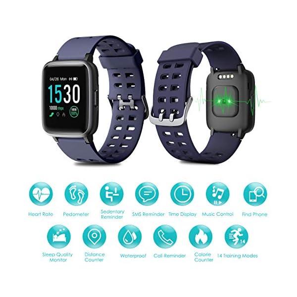 HOMVILLA Pulsera Actividad, Fitness Tracker, Reloj Inteligente Impermeable IP68 con Pulsómetro Monitor de sueño Pulsera… 5