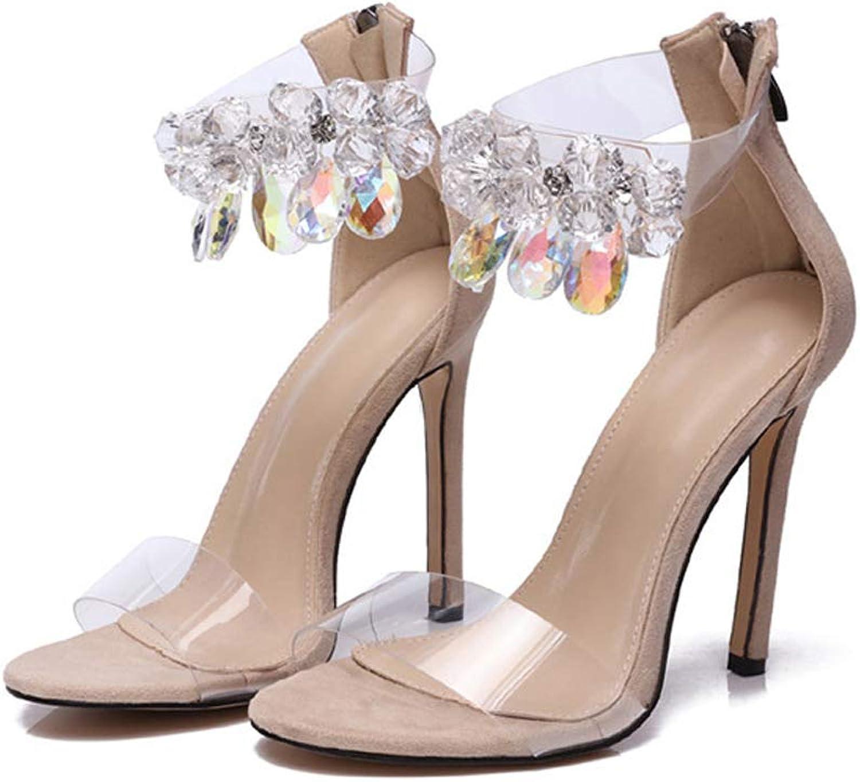 Women's Gladiator Rhinestone Transparent High Heel Sandals