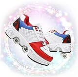 SHHAN Chaussures À roulettes Réglables Chaussures 2 en 1 Multi-Usages Patins A roulettes Kick Roller Shoe Hommes Femmes Runaway Patins À Quatre Roues,White Red,40EU/9US